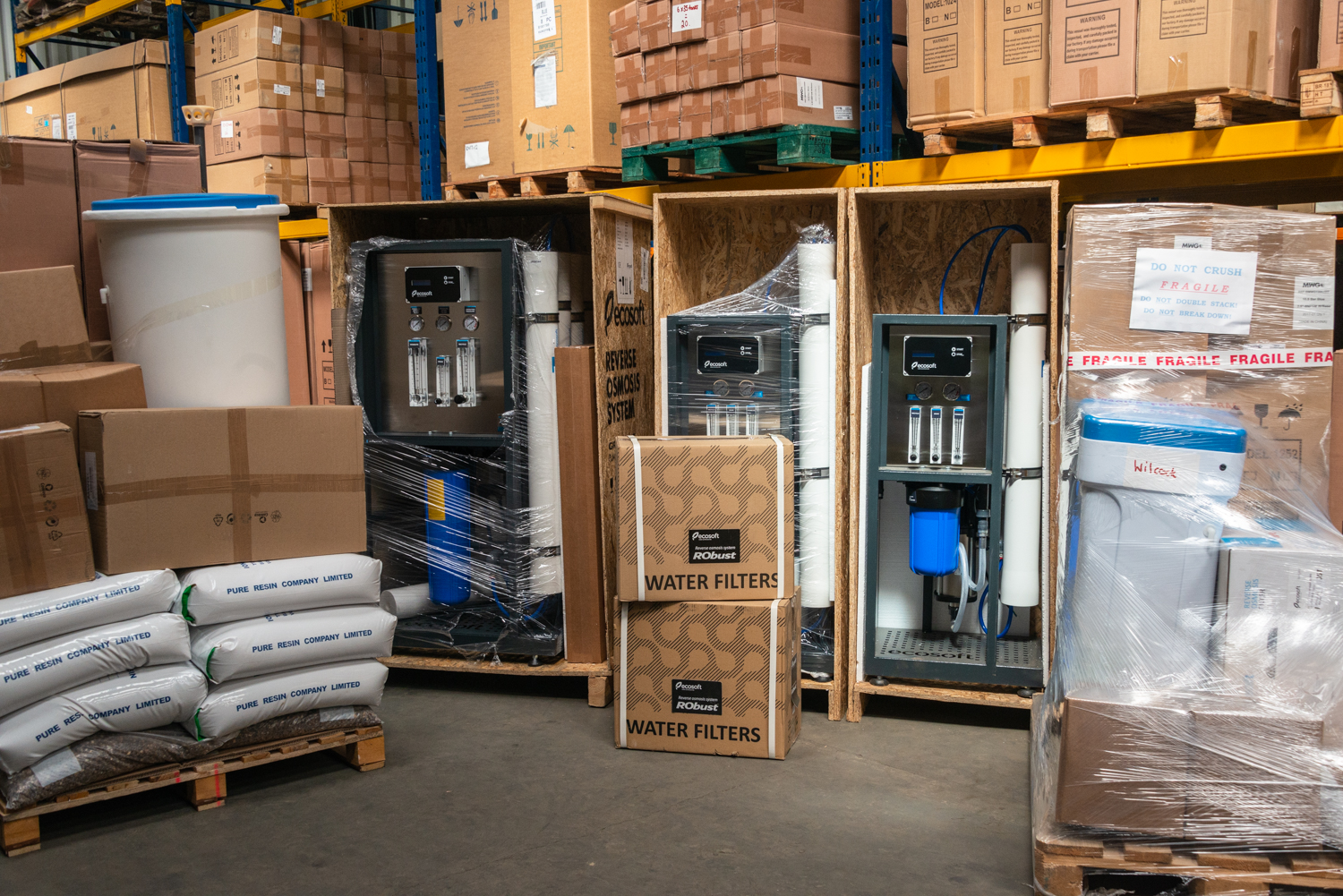 Three commercial reverse osmosis systems