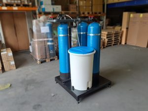 Water Softener, Brine Tank and Carbon on Skid